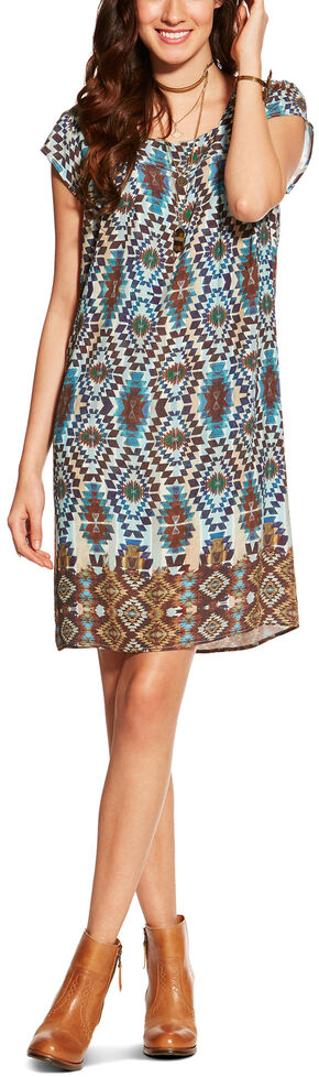 Ariat Women's Kallie Southwest Print Shift Dress, Multi, hi-res