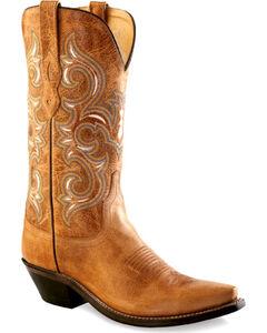 Old West Women's Rustic Tan Western Boots - Snip Toe  , , hi-res