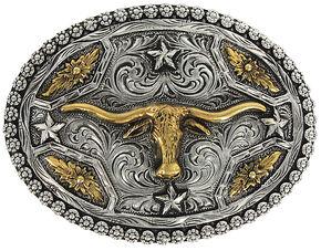 Cody James Men's Oval Longhorn Belt Buckle, Silver, hi-res