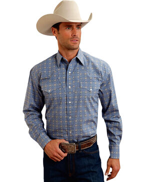 Stetson Men's Blue Print Long Sleeve Western Shirt, Blue, hi-res