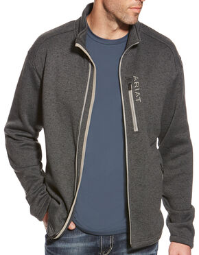 Ariat Men's Charcoal Caldwell Full Zip Sweater, Grey, hi-res