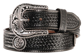 Justin Round 'Em Up Western Belt, Black, hi-res