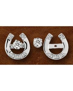 Kelly Herd Sterling Silver Horseshoe & Rhinestone Stud Earrings, , hi-res