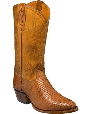 Tony Lama Men's Brandy Brilliant Teju Lizard Cowboy Boots - Round Toe, Tan, hi-res