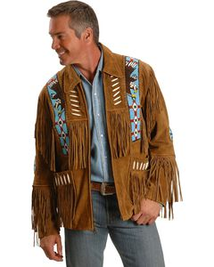 Liberty Wear Eagle Bead Fringed Suede Leather Jacket, , hi-res