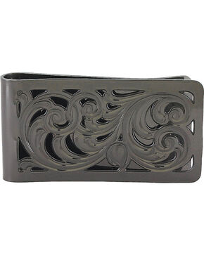 Montana Silversmiths Men's Black Nickel Filigree Money Clip, Black, hi-res