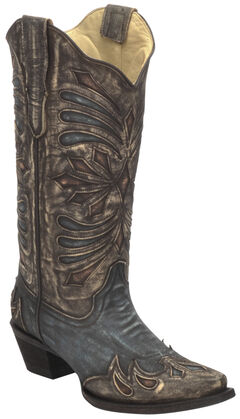Corral Diamond Embroidered Cowgirl Boots - Snip Toe , , hi-res