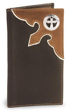 Nocona Cross Concho Leather Checkbook Wallet, , hi-res