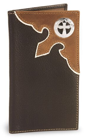 Nocona Cross Concho Leather Checkbook Wallet, Brown, hi-res