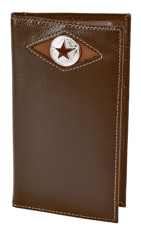 Nocona Leather Inlay Star Concho Checkbook Wallet, Brown, hi-res