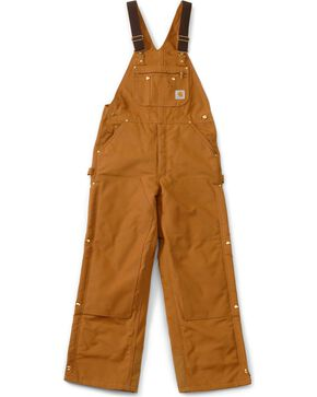 "Carhartt Lined Duck Bib Overalls - Reg, Big. Up to 50"" waist, Brown, hi-res"