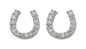 Montana Silversmiths Rhinestone Embellished Horseshoe Earrings, Silver, hi-res