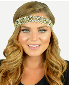 Pink Pewter Gold Hand Beaded Sienna Stretch Headband, , hi-res