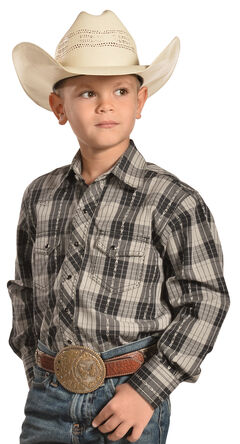 Crazy Cowboy Boys' Black Plaid Dobby Western Snap Shirt , , hi-res