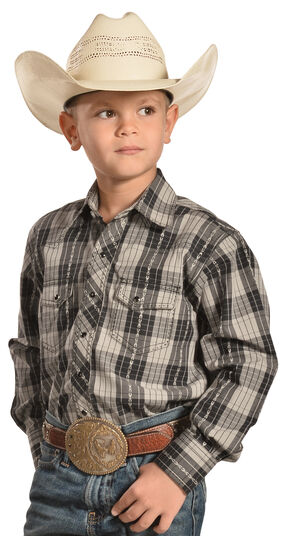 Crazy Cowboy Boys' Black Plaid Dobby Western Snap Shirt , Black, hi-res