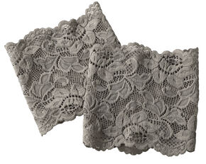 Shyanne Women's Grey Lace Stretch Boot Cuffs, Grey, hi-res