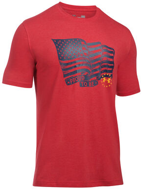 Under Armour Freedom Men's Red Proud American Tactical Graphic T-Shirt, Red, hi-res