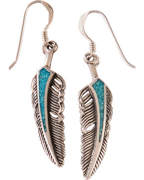Silver Legends Women's Sterling Silver & Turquoise Feather Earrings, Turquoise, hi-res