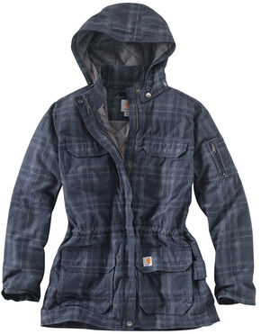 Carhartt Women's Gallatin Quilt Flannel Coat, Blue, hi-res