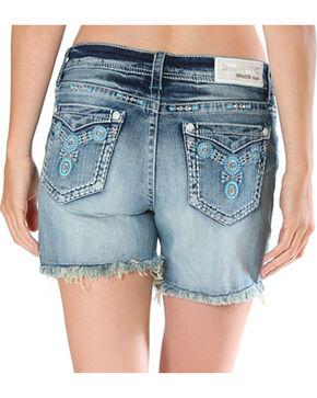 Grace in LA Women's Cut Off Raw Hem Shorts , Light/pastel Blue, hi-res