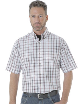 Wrangler Men's Rugged Wear Blue Ridge Plaid Shirt , White, hi-res