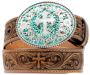 Nocona Kids' Swirling Turquoise Stone Buckle Swirling Cross Embossed Belt, Brown, hi-res