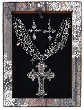 Shyanne Women's Ornate Cross Jewelry Set, Silver, hi-res