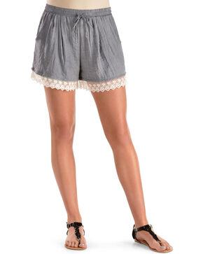 Moa Moa Lace Trim Denim Shorts, Hthr Blue, hi-res