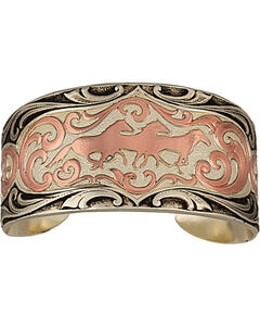Montana Silversmiths Two Tone Horses Cuff Bracelet, , hi-res