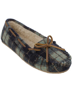 Minnetonka Women's Cally Plaid Slippers, Navy, hi-res