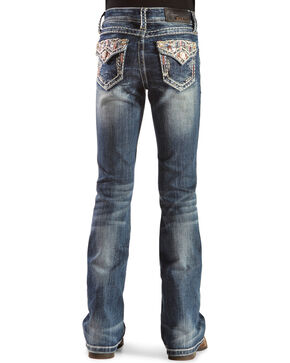 Grace in L.A. Girls' Flap Pocket Jeans with Stones and Embroidery , Denim, hi-res