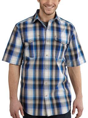 Carhartt Bozeman Short Sleeve Plaid Work Shirt, Blue, hi-res