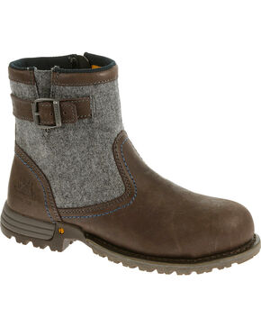 Caterpillar Women's Brown Jace Waterproof Work Boots - Steel Toe , Brown, hi-res