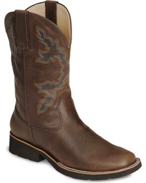 Roper Boys' Brown Rider Cowboy Boot - Square Toe, Brown, hi-res