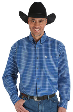 Wrangler George Strait Men's Printed Poplin Plaid Button Shirt - Big & Tall, Blue, hi-res