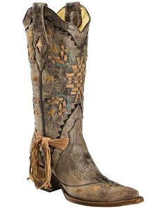 Corral Women's Cango Tobacco Laser Woven Cowgirl Boots - Snip Toe, , hi-res