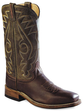 Old West Men's Round Hole Two-Tone Western Cowboy Boots - Square Toe, Chocolate, hi-res