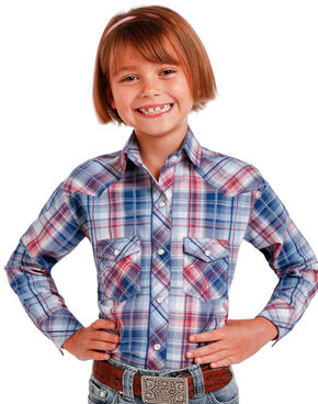 Panhandle Slim Girls' Blue Long Sleeve Plaid Shirt , Blue, hi-res