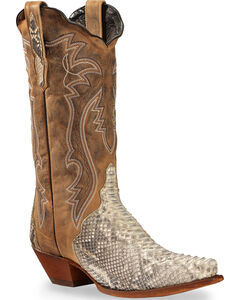 Dan Post Tan and White Python Charmer Cowgirl Boots - Snip Toe, , hi-res
