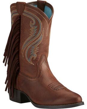 Ariat Girls' Fancy Western Sassy Fringe Cowgirl Boots - Round Toe, Black, hi-res