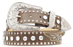 Nocona Rhinestone Studded Wing Inlay Leather Belt, , hi-res