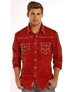 Rock & Roll Cowboy Men's Solid Rust Contrast Stitching Western Shirt , , hi-res
