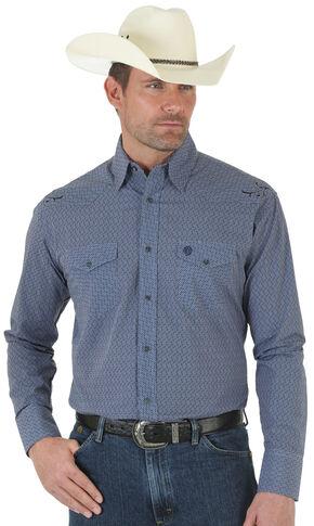 Wrangler George Strait Troubadour Blue Jacquard Shirt - Tall, Blue, hi-res