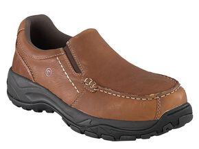 Rockport Works Extreme Light Slip-On Oxford Work Shoes - Composition Toe, Brown, hi-res
