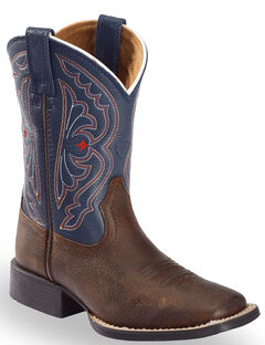 Ariat Youth Boys' Royal Blue Quickdraw Cowboy Boots - Square Toe, , hi-res