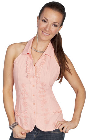 Scully Halter Tie Sleeveless Top, Peach, hi-res