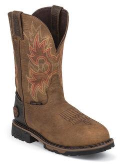 Justin Original Workboots Rustic Barnwood Tec Tuff Waterproof Work Boots - Comp Toe, , hi-res