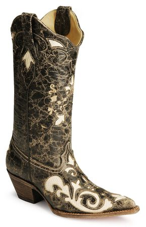 Corral Lizard Inlay Black Cowgirl Boots, Black, hi-res