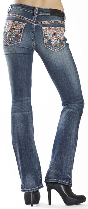 Grace in LA Women's Easy Fit Aztec Stitch Bootcut Jeans , Indigo, hi-res
