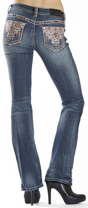 Grace in LA Women's Easy Fit Aztec Stitch Bootcut Jeans , Indigo, hi-res